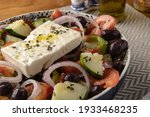 greek salad with onion  olives  ...