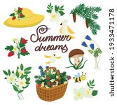 summer icon set with hat ... | Shutterstock .eps vector #1933471178