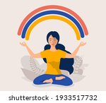happy woman sits in lotus pose... | Shutterstock .eps vector #1933517732