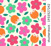 cute hand drawn floral seamless ... | Shutterstock .eps vector #1933527242