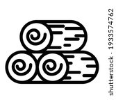 Wood Roll Stack Icon. Outline...