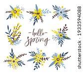 spring floral set. hand drawn... | Shutterstock .eps vector #1933594088