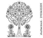 Folk Tree Doodle On The White...