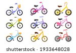 set of colourful kids bicycle ... | Shutterstock .eps vector #1933648028