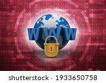 3d rendering padlock with www  | Shutterstock . vector #1933650758