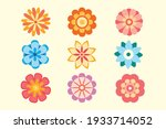 set of vector decorative flower ... | Shutterstock .eps vector #1933714052