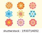 set of vector decorative flower ... | Shutterstock .eps vector #1933714052