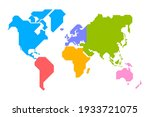 simplified world map drawn with ... | Shutterstock .eps vector #1933721075