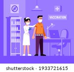 nurse gives vaccine to patient. ... | Shutterstock .eps vector #1933721615