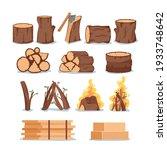 set of firewood  wooden tree... | Shutterstock .eps vector #1933748642