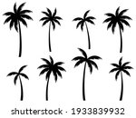 black palm trees set isolated... | Shutterstock .eps vector #1933839932