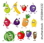 set of funny fruits with eyes.... | Shutterstock .eps vector #1933844132