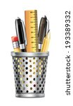 box full of pencils pens and... | Shutterstock .eps vector #193389332