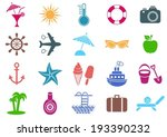 colorful vector summer icons... | Shutterstock .eps vector #193390232