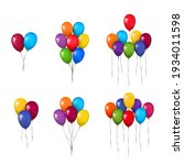 balloons 3d bunch set  thread ... | Shutterstock .eps vector #1934011598