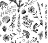 Seamless Pattern With Ink Hand...
