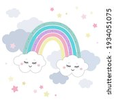 cute magical rainbow and clouds ... | Shutterstock .eps vector #1934051075