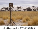 A Sign For Hikers Marking The...