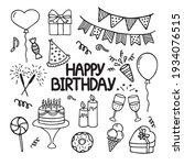 set of happy birthday doodles.... | Shutterstock .eps vector #1934076515