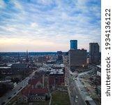Aerial view of Lexington, Kentucky skyline during sunrise