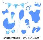 Baby Boy Shower Set. Elements...