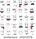 cartoon faces with emotions | Shutterstock .eps vector #193419278