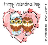 Pink Heart And Couple Of Owls