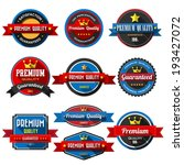 PREMIUM QUALITY ,retro vintage badges and labels. Flat design with long shadow .eps10  - stock vector