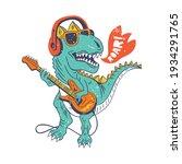 ool dinosaur playing guitar...   Shutterstock .eps vector #1934291765