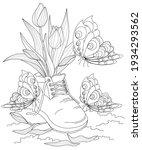 tulip flowers in boots surround ... | Shutterstock .eps vector #1934293562