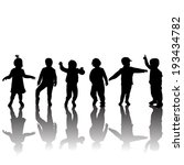 silhouettes of children and... | Shutterstock . vector #193434782