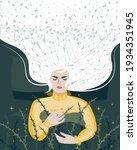 restless sleep concept. woman... | Shutterstock .eps vector #1934351945