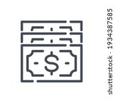 dollar banknotes line icon....