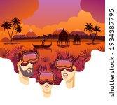 virtual reality travel. family... | Shutterstock .eps vector #1934387795