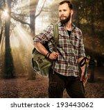 handsome traveler with backpack ... | Shutterstock . vector #193443062