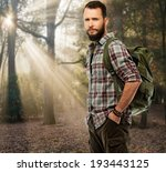 handsome traveler with backpack ... | Shutterstock . vector #193443125