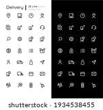 delivery linear icons set for...