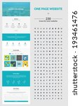 One page website design template. All in one set for website design that includes one page website templates, set of 230 business icons for web design, and flat design concept illustrations.