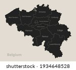 Black Map Of Belgium With Names ...