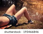 a young woman is lying on the... | Shutterstock . vector #193466846