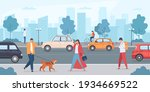 cars on city road. people... | Shutterstock .eps vector #1934669522