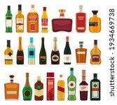 Alcohol Drinks In Bottles. Flat ...