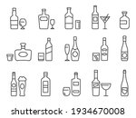alcohol drinks line icons.... | Shutterstock .eps vector #1934670008