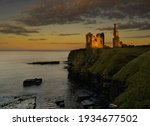 Sunset over Castle Sinclair Girnigoe, Caithness, Scotland.