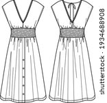 vector summer v neck dress... | Shutterstock .eps vector #1934688908