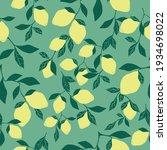 seamless lemon pattern . green...   Shutterstock .eps vector #1934698022