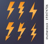 lightning icon flat design long ... | Shutterstock .eps vector #193474706