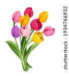 vector bouquet of red  pink ...   Shutterstock .eps vector #1934766932