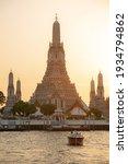Small photo of BANGKOK, THAILAND - 07 March, 2021:Wat Arun Temple at sunset in bangkok Thailand. Wat Arun is a Buddhist temple in Bangkok Yai district of Bangkok, Thailand, Wat Arun is among the best known of Thail