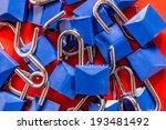 Blue Locks On Red Background....